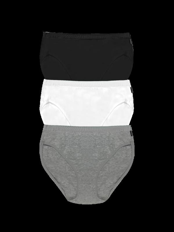 womens black, white and grey hi-cut brief underwear 3 pack - underworks