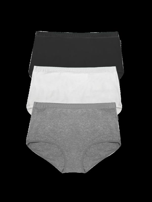 womens black, white and grey full brief underwear 3 pack - underworks